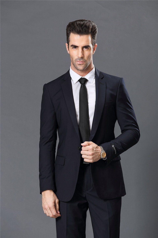 Buy navy blue button slim fit business suit for men at