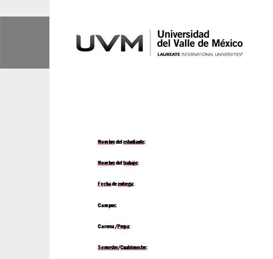 universidad del valle de m233xico plantilla portada de
