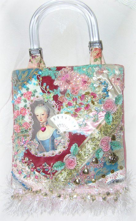 Marie Antoinette, purse, crazy quilting