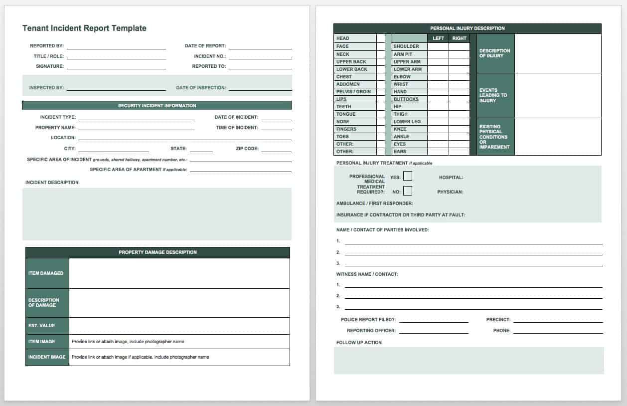 Free Incident Report Templates Forms In 2020 Report Template