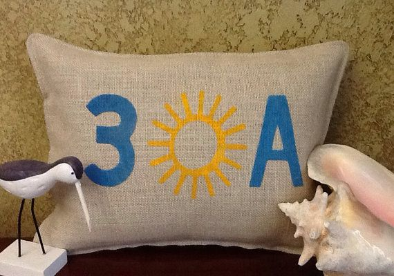 30A Stenciled Pillow by BurlapPillowsEtc on Etsy, $32.50