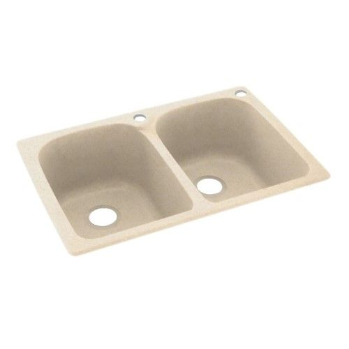 Swan Kslb-3322-051-2 33-in D x 22-in W x 10.5-in H Solid Surface Dual Mount Double Bowl Kitchen Sink with 2-Hole in Tahiti Sand