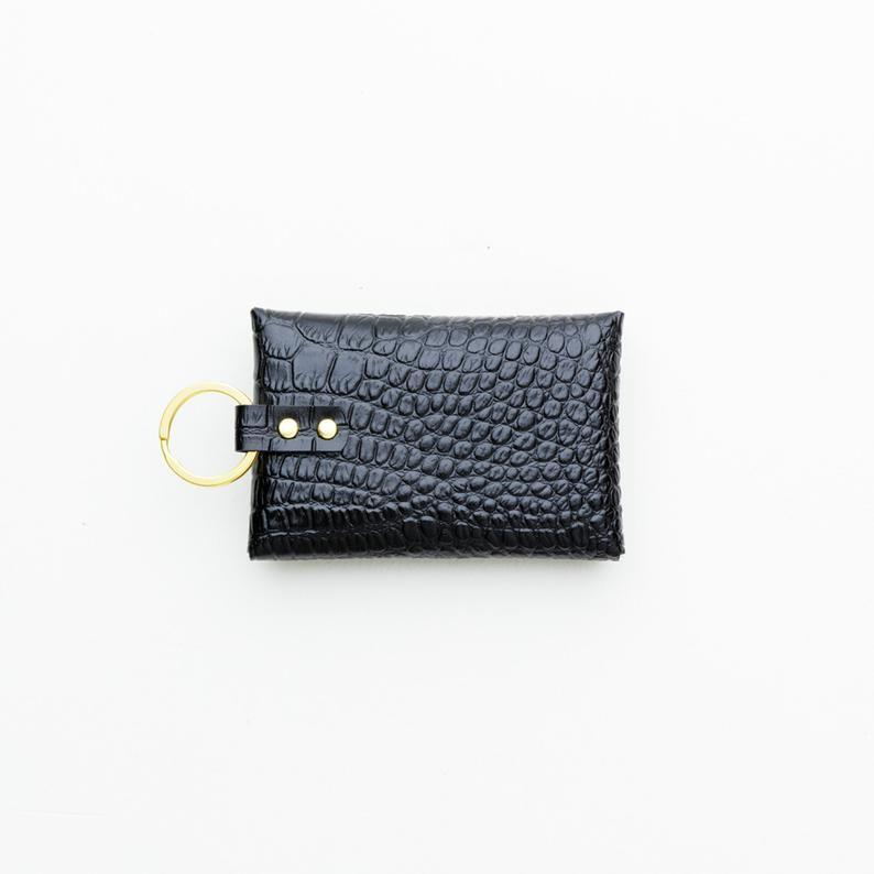 Crocodile Embossed Leather Keychain Wallet Business Card Etsy In 2020 Leather Keychain Leather Keychain Wallet Keychain Wallet
