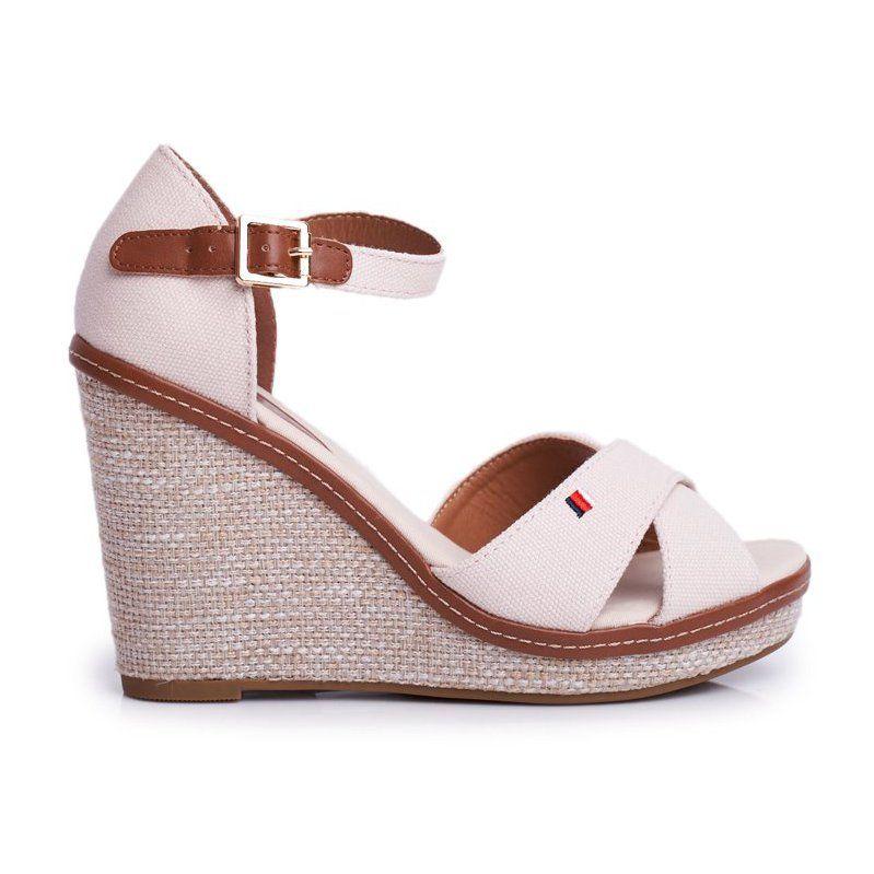 Sea Sandaly Damskie Na Koturnie Bezowe Lamane Bezowy Wedge Espadrille Shoes Espadrilles