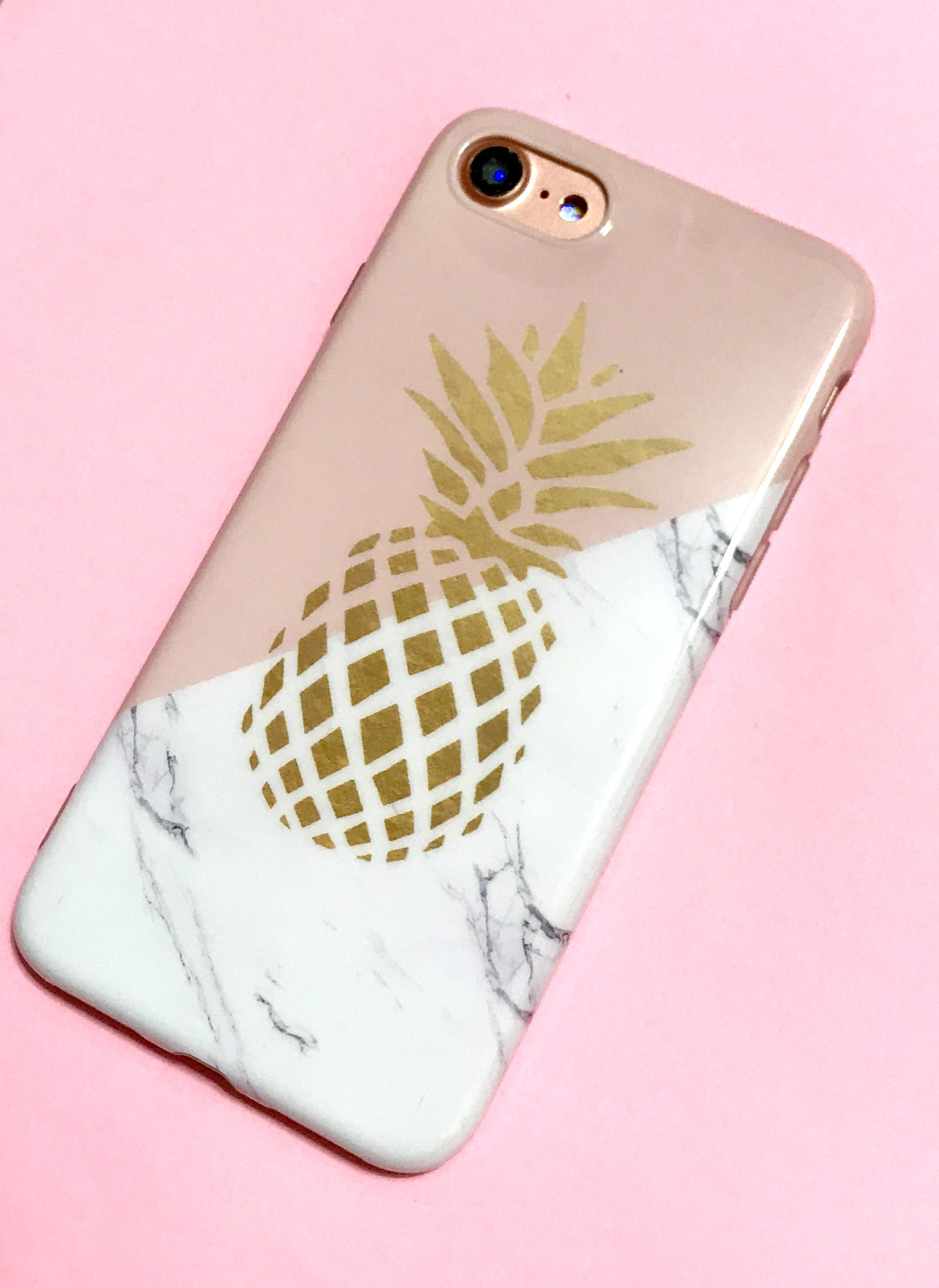 the latest 63cf0 9a6cf Gold Pineapple marble pink iphone cases fit for iphone 6 6s 7 and ...