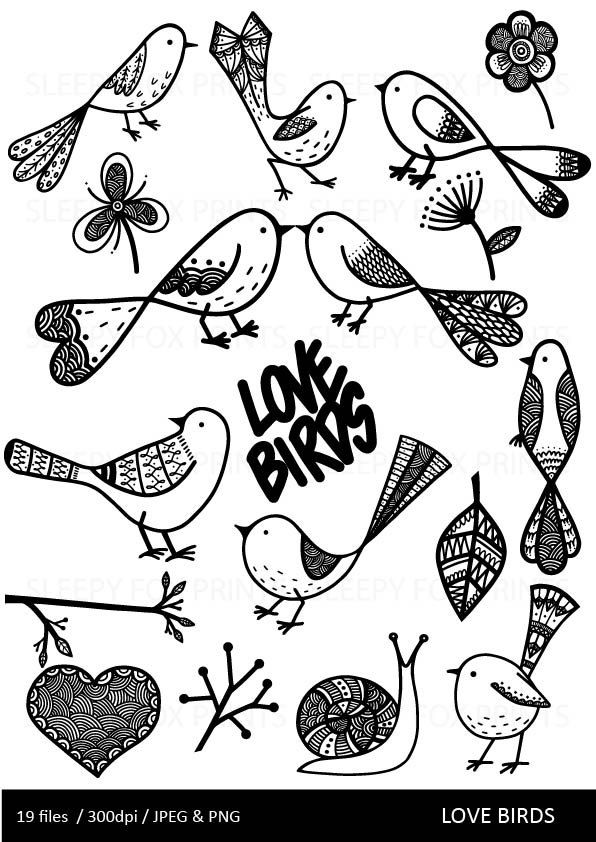 Love Birds Clipart Clip Art Bird Clipart Hearts Flowers Cute Nature Black And White Invitations Zentangle Clipart Printable Bird Drawings Bird Clipart Bird Doodle