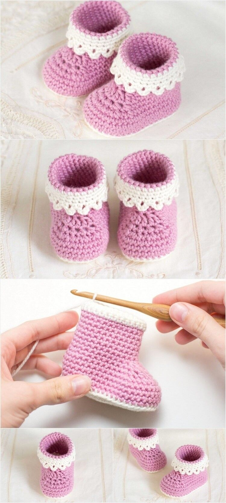 A beautifully crafted 'lady' crochet pattern for a little lady. The pattern is easy and someone having basic crochet stitching skill can make it easily. The pattern is for up to 6 months old baby and is knitted from bottom to top and inside out and around, when making the cuffs. For complete details, click the given link. #crochetbabyboots