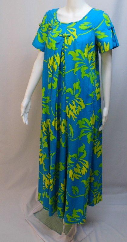 0be5432b886c Vintage Outfits · Hawaiian Muumuu · 1980s Vintage Hoaloha Blue and Green  Floral by FitForAQueenVintage, $45.00 Luau Dress, 80s Dress