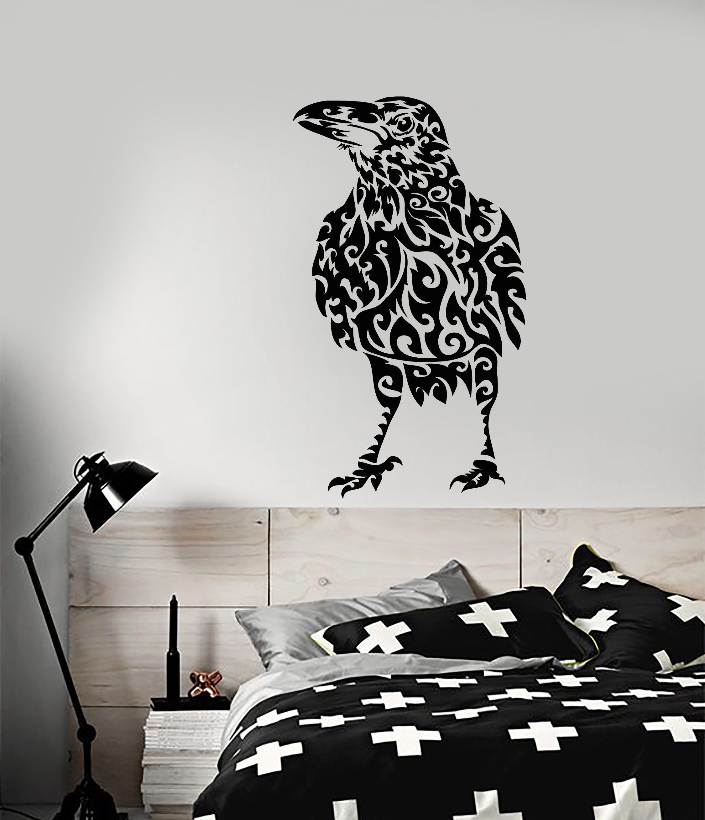 Vinyl Wall Decal Abstract Raven Bird Gothic Style Stickers (2261ig) & Vinyl Wall Decal Abstract Raven Bird Gothic Style Stickers (2261ig ...