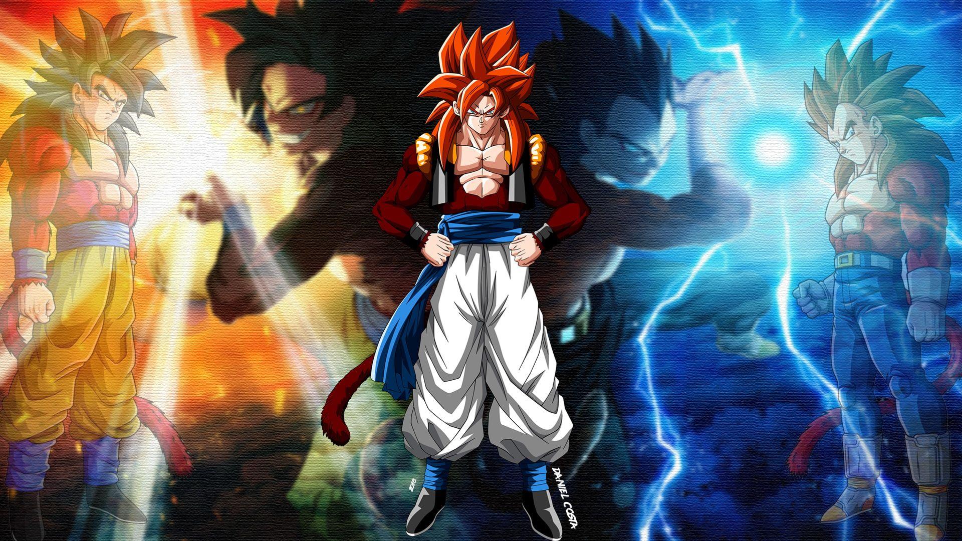 Dragon Ball Dragon Ball Gt Gogeta Son Goku Vegeta 1080p Wallpaper Hdwallpaper Desktop In 2020 Dragon Ball Gt Dragon Ball Dragon