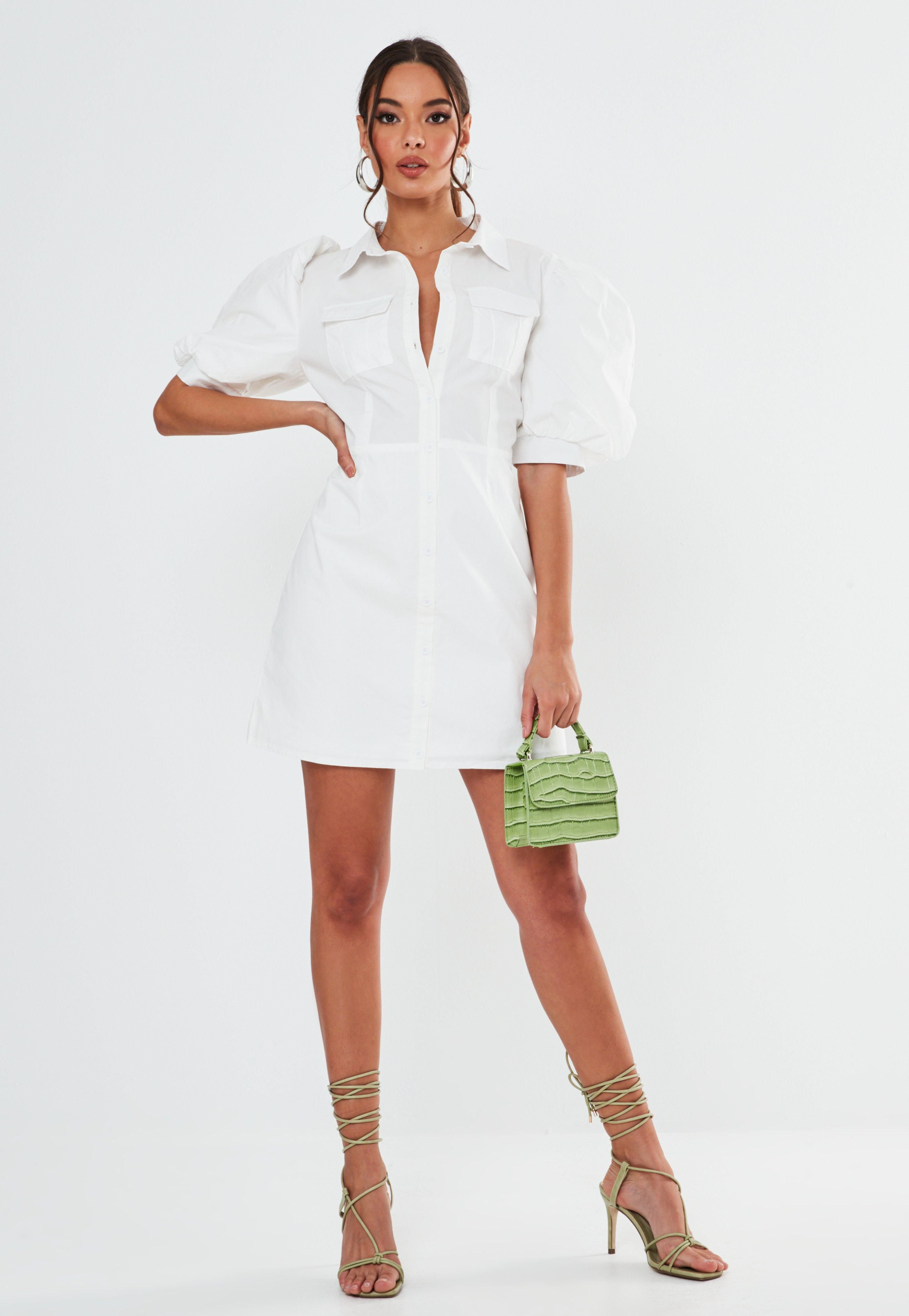 Size UK Women Striped Mini Shirt Dress Ladies Party Long Puff Sleeve Top Dresses