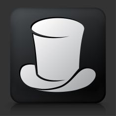 Black Square Button with Magician's Hat vector art illustration