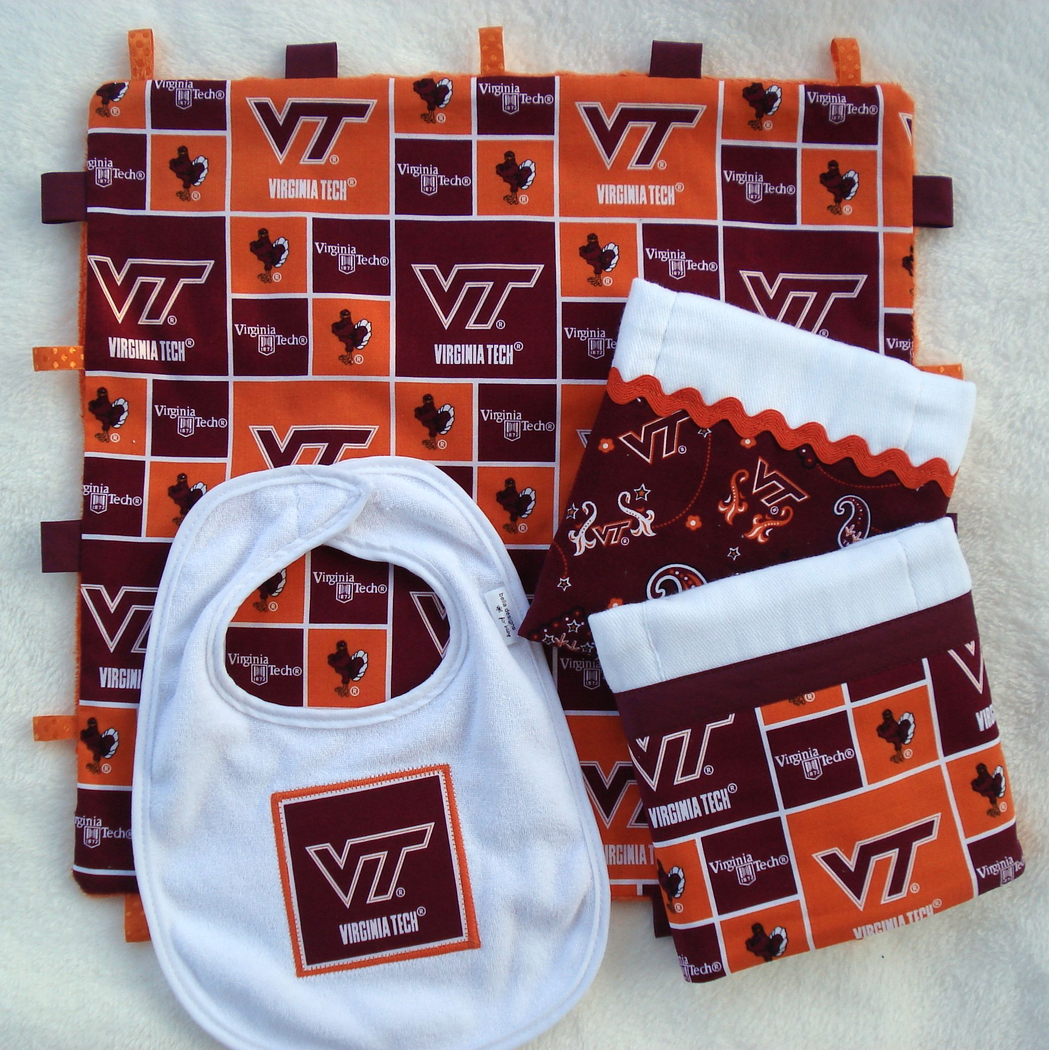 VA Tech Gift Set for the little Hokies in your life Lovey taggie