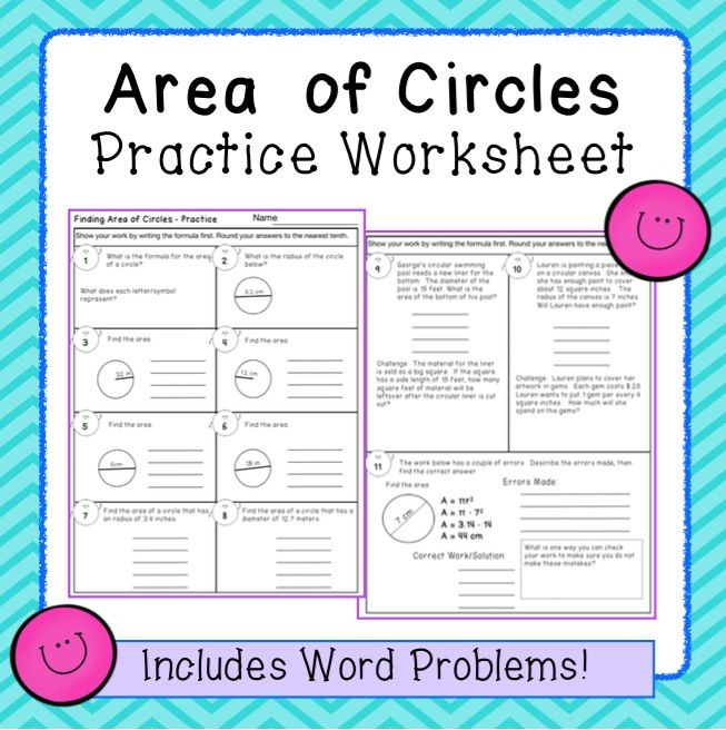 Circles Area Practice Worksheet Practices Worksheets Word