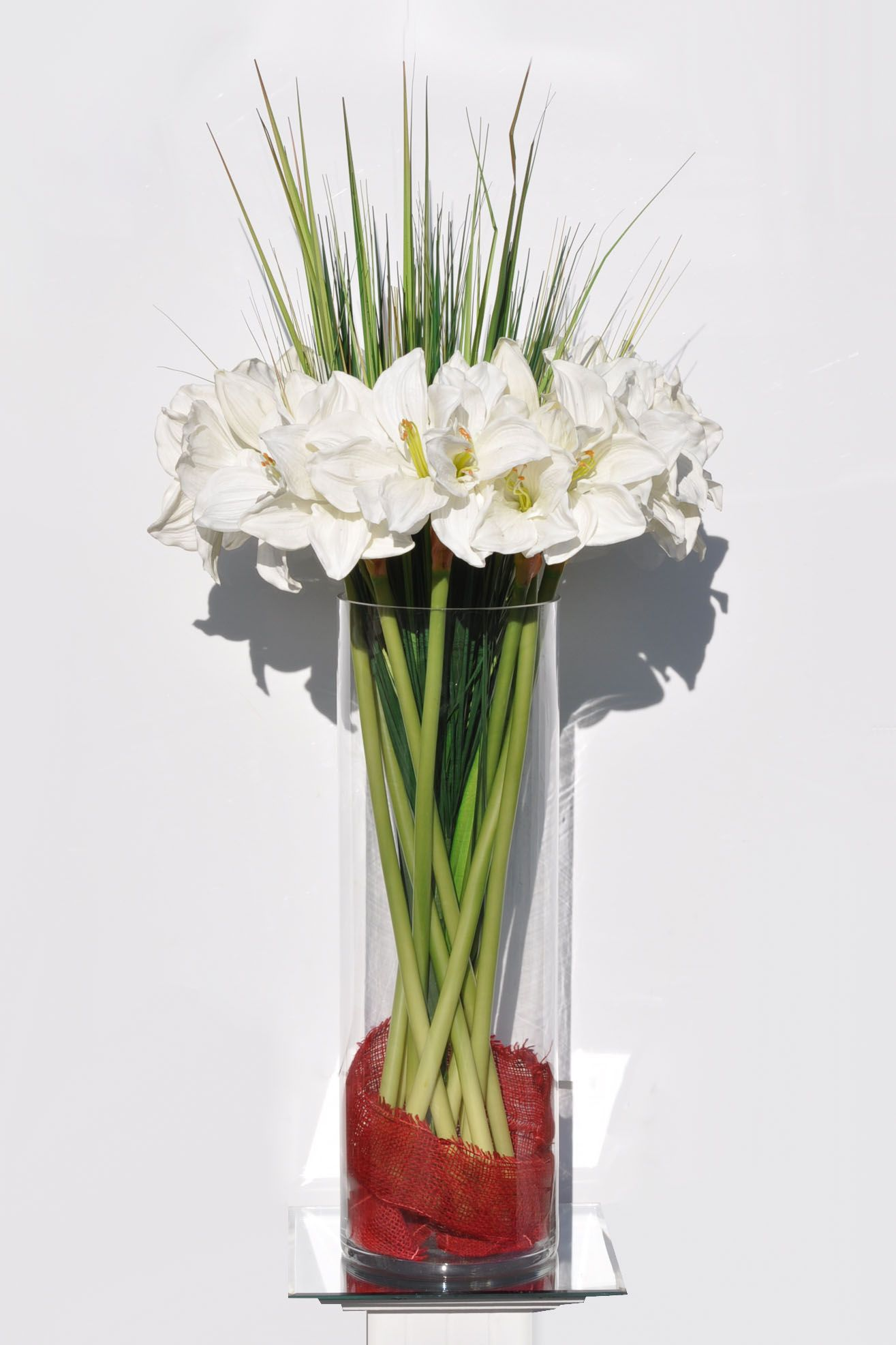 Huge White Amaryllis w/ Tall Grass home decor design