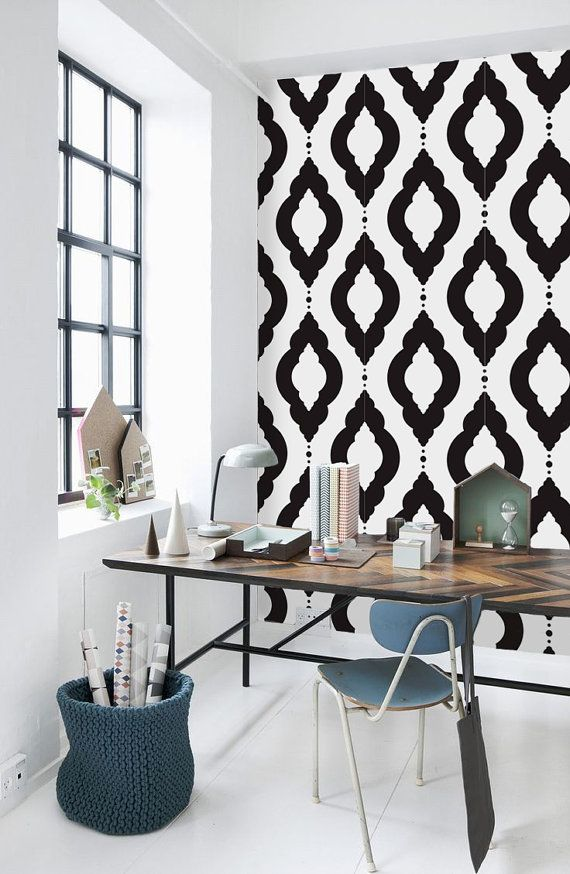Damask Geometric Pattern Self Adhesive Vinyl Wallpaper By Livettes, $34.00  On Etsy *Cute Contemporary Home Office