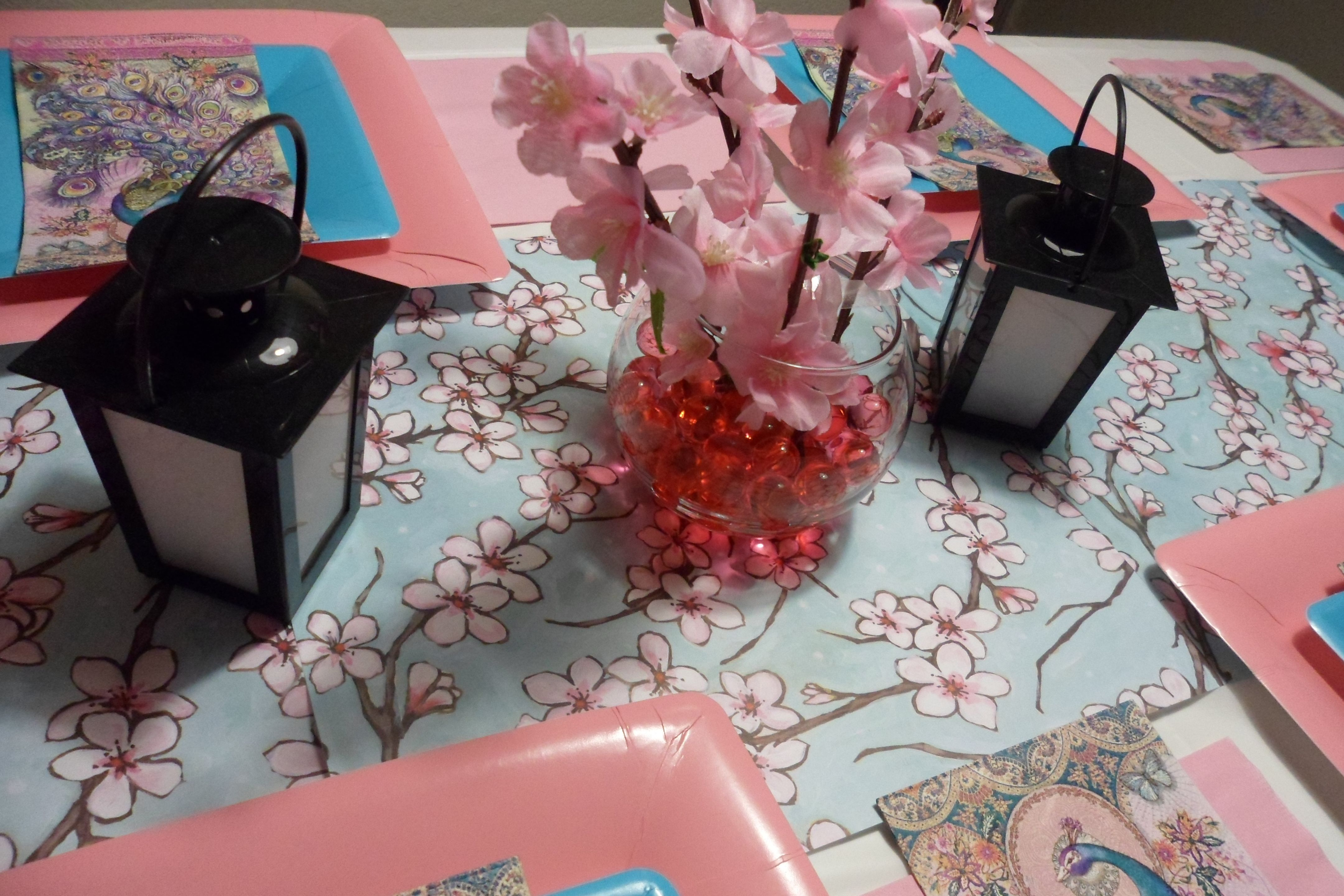Japanese Themed Party Cherry Blossom Table Runner Diy From Scrap Book Paper And Dollar Tree Items By J Ok Dinner Party Themes Japanese Birthday Dinner Themes