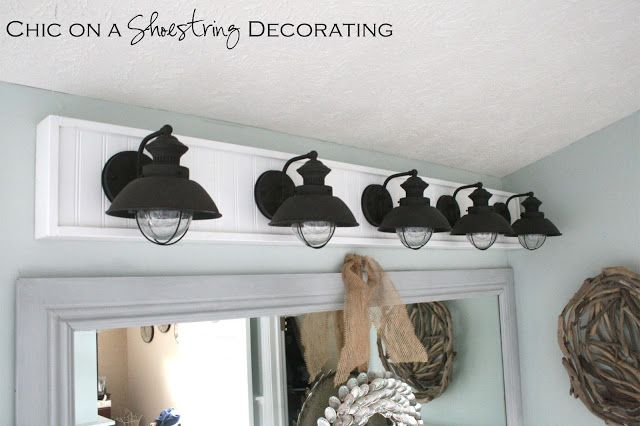 DIY Bathroom Light Fixture By Chic On A Shoestring Decorating - Coastal bathroom vanity lighting