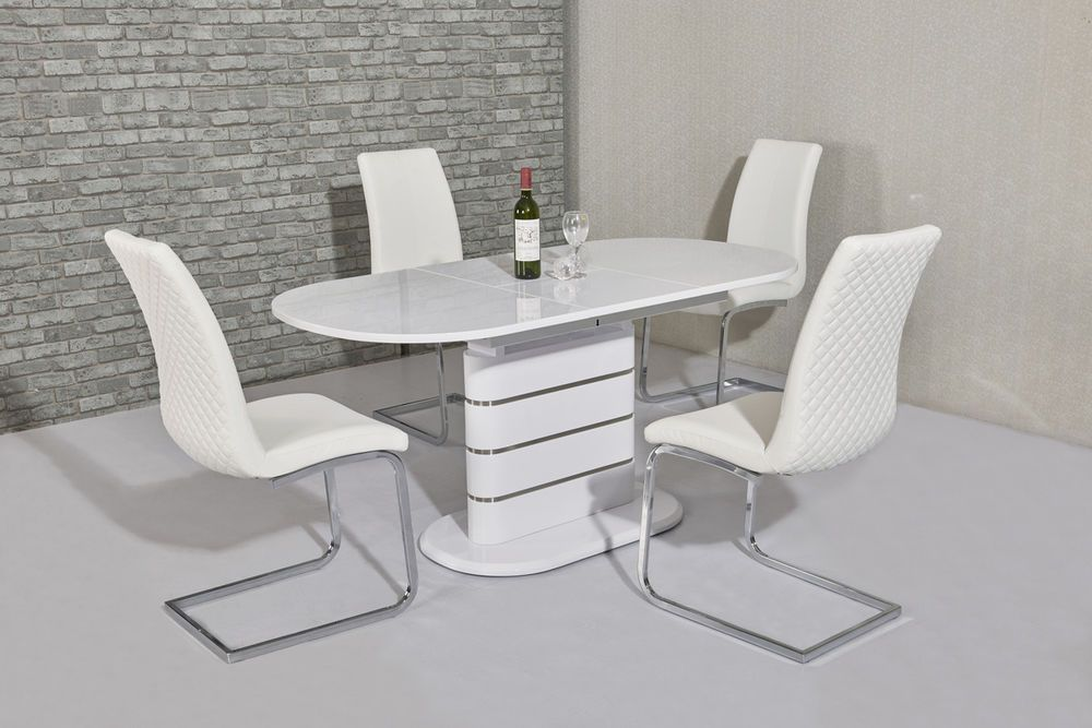 Modern White High Gloss And Steel Extending Dining Table With