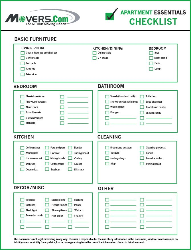 Movers - Apartment Essentials Move-In Checklist Movers