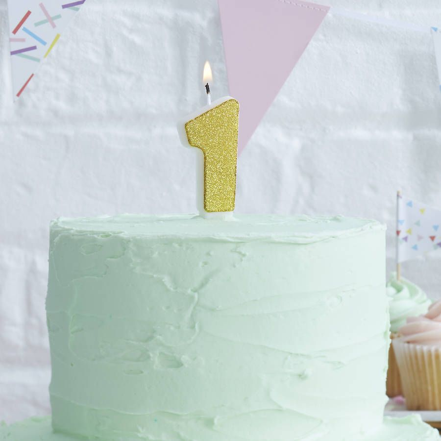 Gold Glitter Number One Birthday Cake Candle Products Cakes And