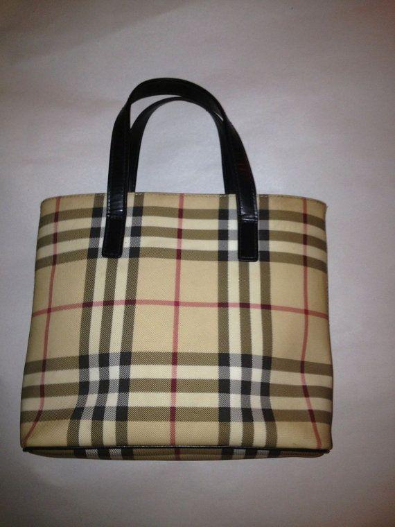 f6658221453 pre-owned authentic BURBERRY small tan NOVA CHECK Haymarket handbag ToTE  totebag Rare!