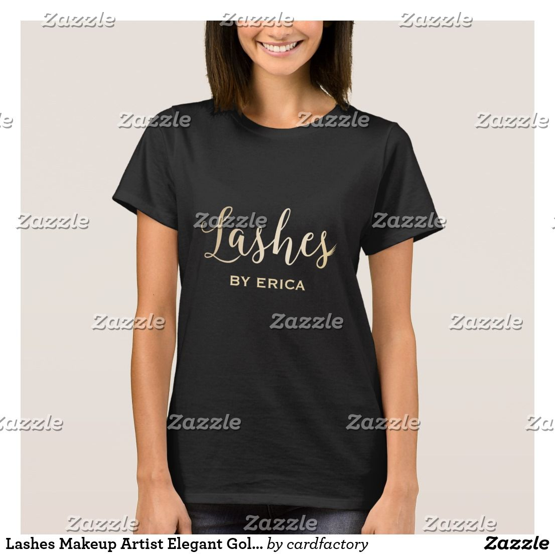 Lashes makeup artist elegant gold typography t shirt explore table names shirt embroidery and more urtaz Gallery