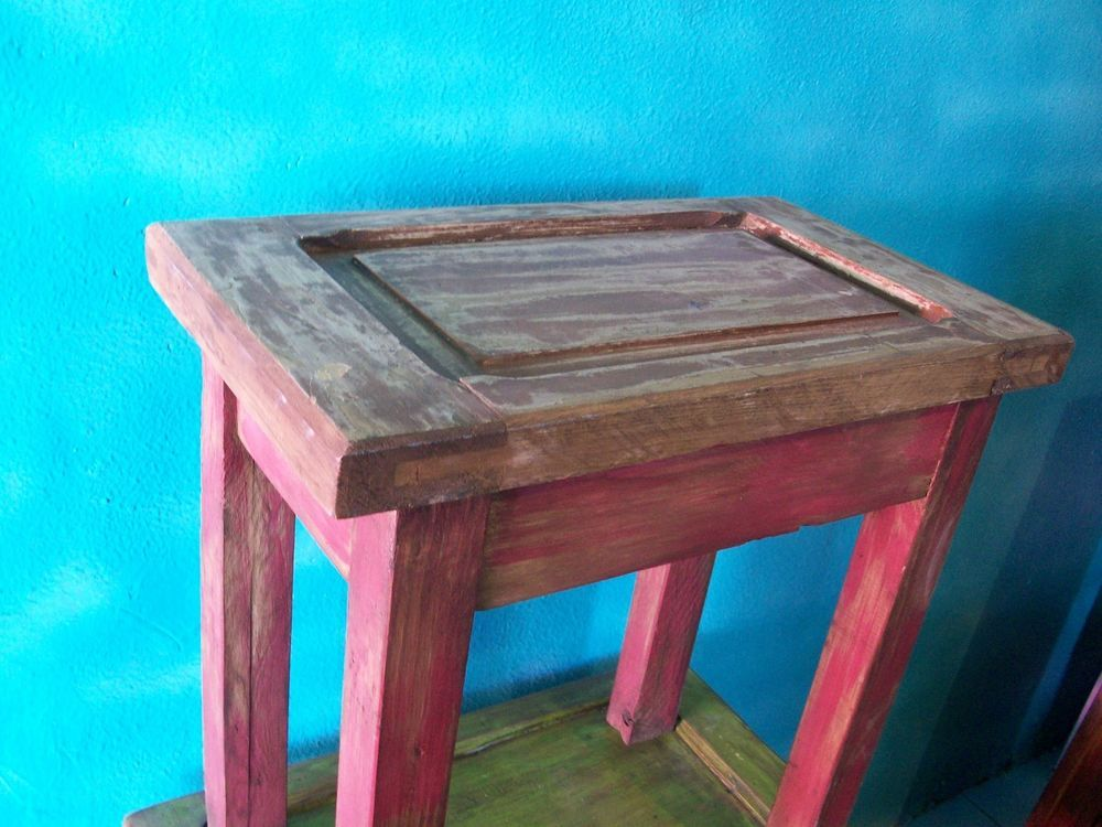 Hand Made Rustic Lamp Table Vintage Door Made Old Wood New Furniture Mexico  2