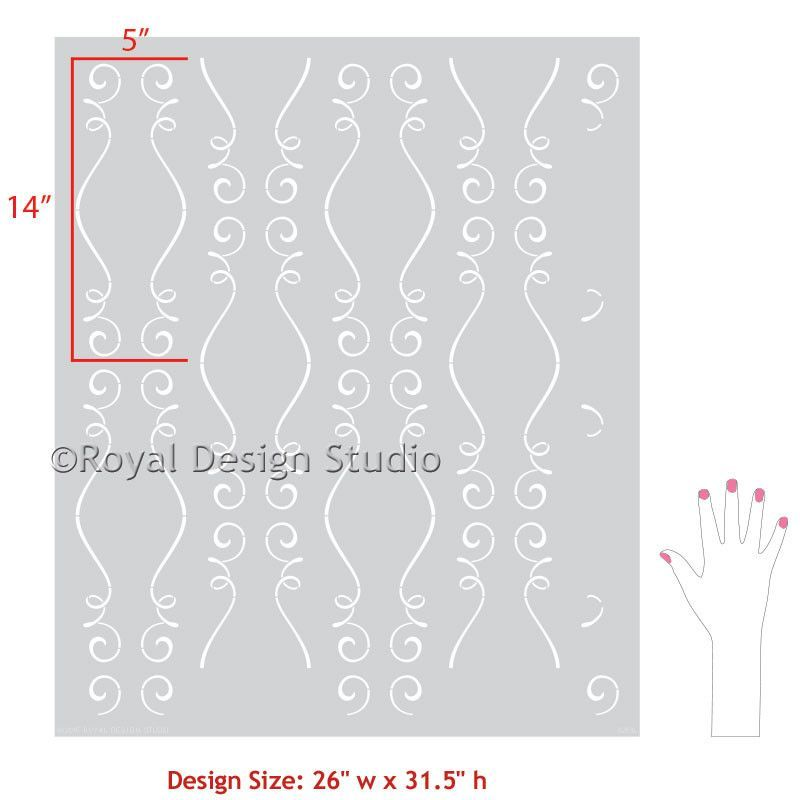 cute scroll stencil designs. Painted Accent Wall Project using Romantic and Colorful Stencil  Patterns Gigi Scroll Modern accent walls stencil