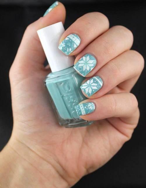 Winter Pattern Nails #light Blue