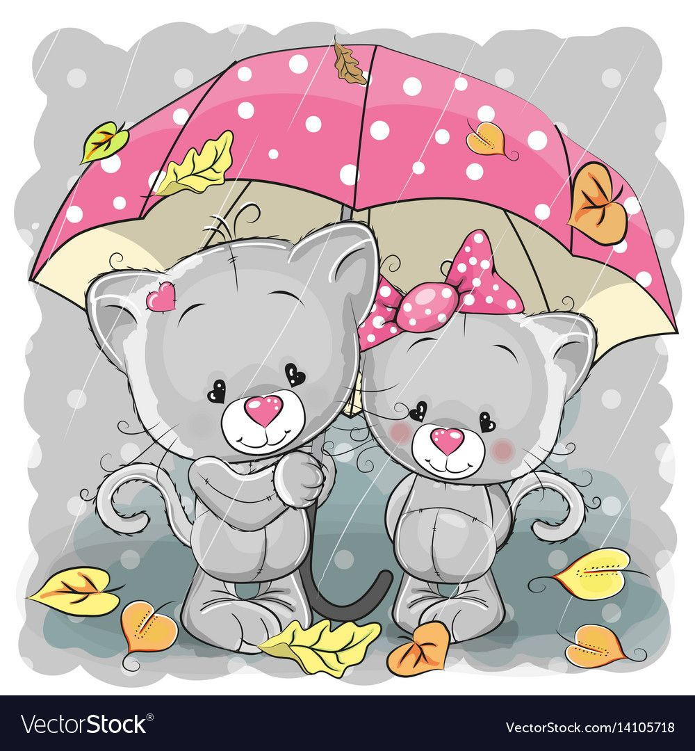Two Cute Cartoon Kittens With Umbrella Under The Rain Download A Free Preview Or High Quality Adobe Illustra Kitten Cartoon Cute Cartoon Cute Cartoon Pictures