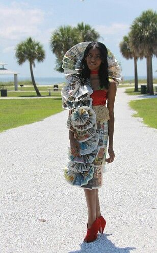 SOLIMAR COLLECTION  Recycled newspaper Costume Made from 70 pages of newspaper