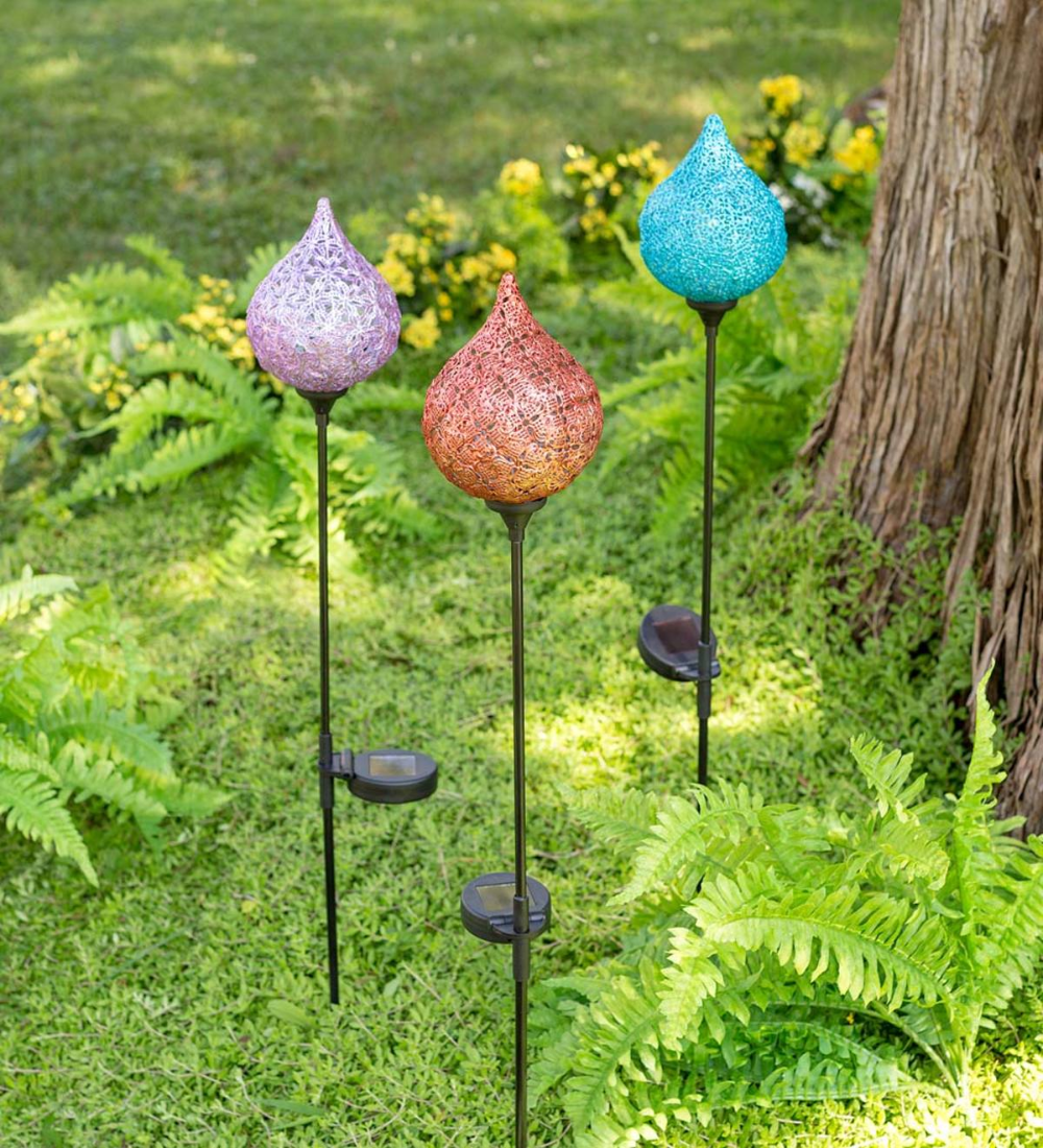 Lighted Solar Water Drop Stake Red Wind And Weather Solar Water Decorative Garden Stakes Fairy Garden Diy