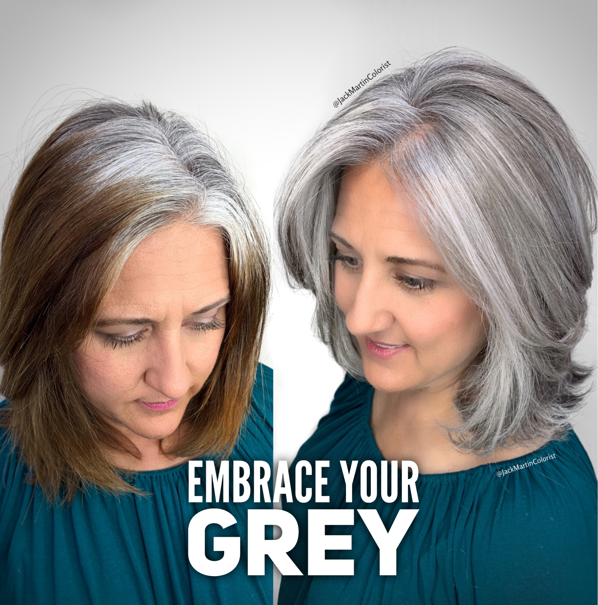 Embrace Your Grey And Stop Coloring Check The Link Below On How I Achieved This Transformation Blending Gray Hair Pretty Gray Hair Grey Hair Styles For Women