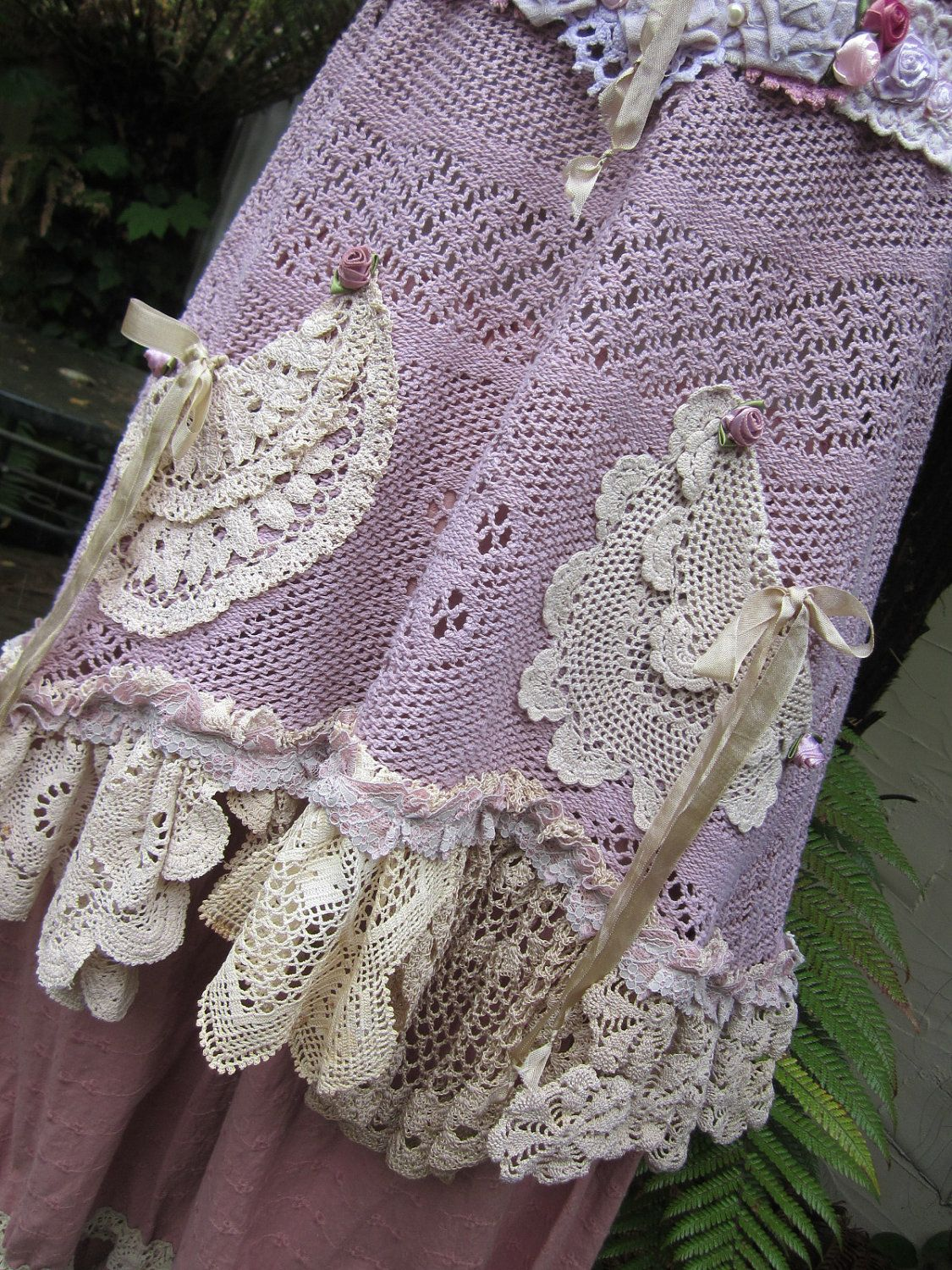 Vintage Kitty..upcycled vintage cotton lace tunic... crochet