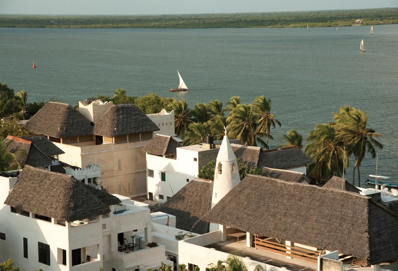 tanzania lamu island the view over the rooftops of shela starting in the