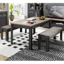 Photo of Zona pranzo Jülich-36 in grafite con tavolo in rovere Artisan allungabile a 220 cm e 2 panche con imbottitura per sedile
