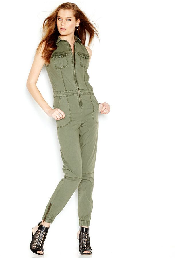 6bb2df2ae1a GUESS Sleeveless Cargo Jumpsuit - Click the link for product details ...