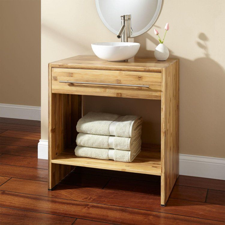 meuble salle de bain bambou avec poignée en acier brossé et vasque à - Meuble Vasque A Poser Salle De Bain