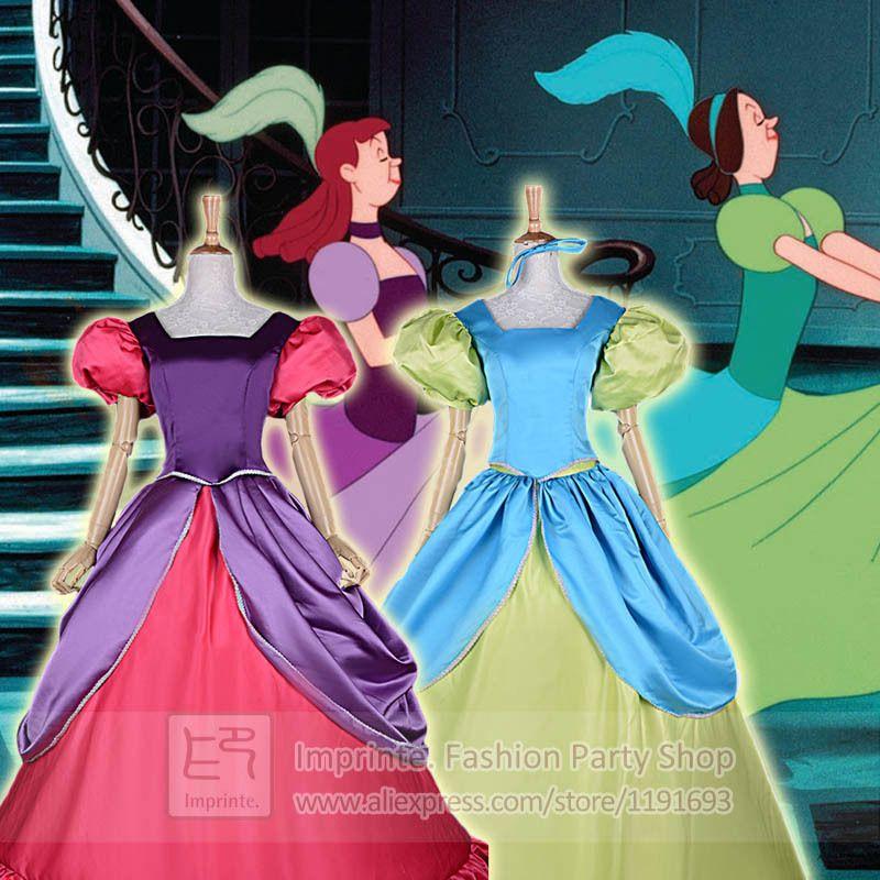 Adult Cinderella Step Sisters Costumes Anastasia Drizella A-Line ...
