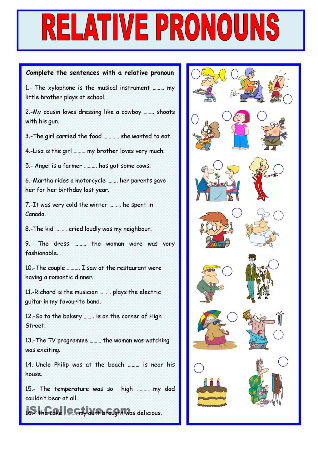 small resolution of 17+ Printable Worksheets Relative Pronouns