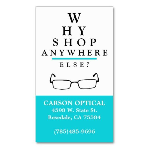 Optical Shop Business Card Template  Eye Doctor Business Cards