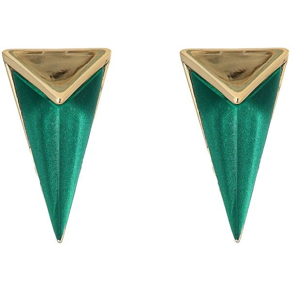 Alexis Bittar Faceted Pyramid Post Earrings (Jungle Green) Earring (73,755 KRW) ❤ liked on Polyvore featuring jewelry, earrings, olive, earring jewelry, alexis bittar, handcrafted jewellery, facet jewelry and handcrafted jewelry