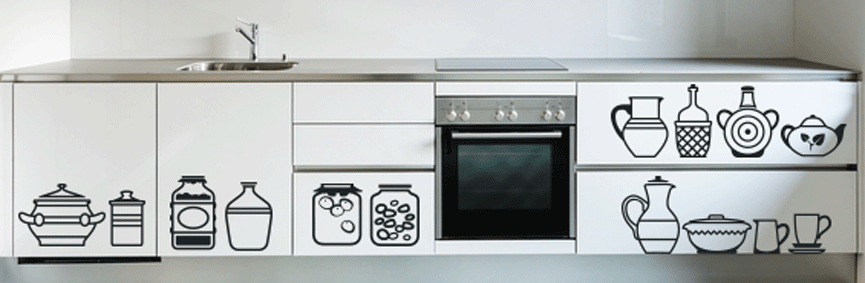 Amusing Kitchen Caskets Wall Sticker. A designer like gallery showcasing some of the most essential and functional kitchen tools and utensils presents a quirky, humorous and luxurious guise to your modern kitchen decors. http://walliv.com/kitchen-tools-and-utensils-5wall-sticker-wall-art-decal