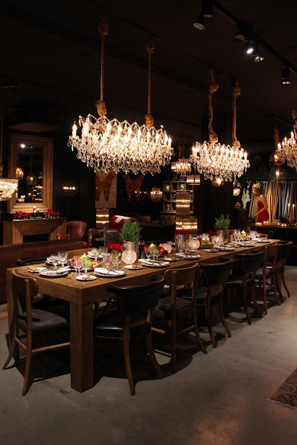 Michelin Stars Shine At The Timothy Oulton Instore Dinner Party Interiorator Restaurant Decor Luxury Dining Room Restaurant Lighting