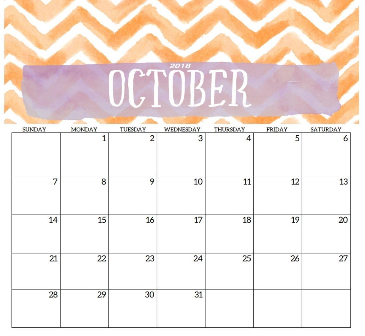 October 2018 Calendar Planner Calendar Printables October