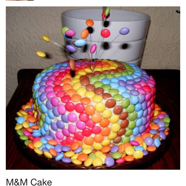 Easy to make cake at home just cover with m ms my style for Easy method of making cake