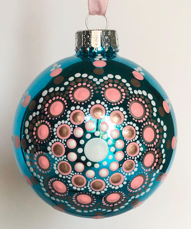 Hand Painted Dot Mandala On Turquoise Glass Ball Ornament Etsy Glass Ball Ornaments Glass Ball Turquoise Glass