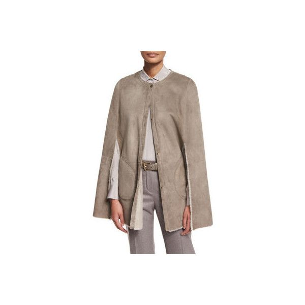 Loro Piana Shearling Fur Shorty Cape ($5,740) ❤ liked on Polyvore ...