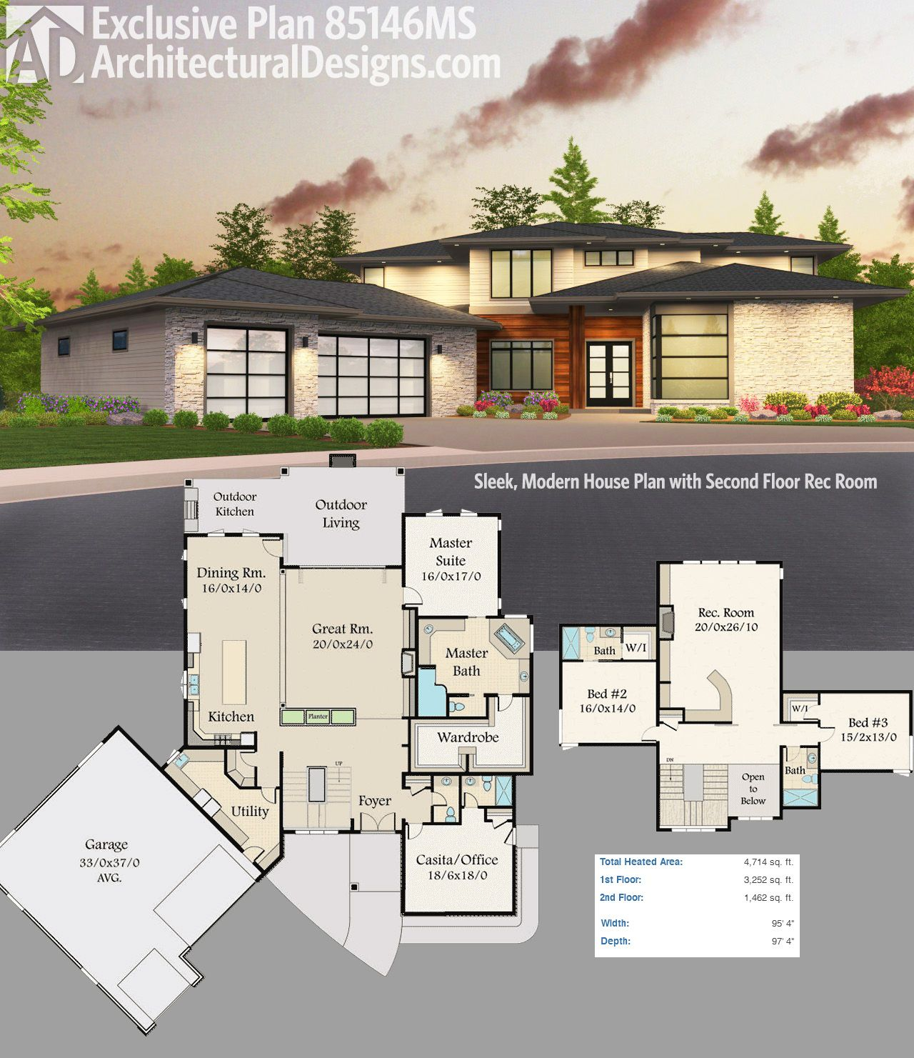 Plan 85146ms sleek modern house plan with second floor for Modern upstairs house plans